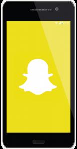 Mobile phone with social media platform Snapchat icon