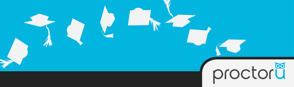 Graduation caps floating through air